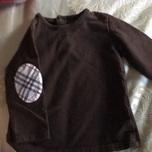 Burberry brown girls top with Burberry pattern